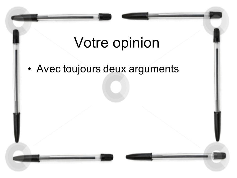 Votre opinion Avec toujours deux arguments