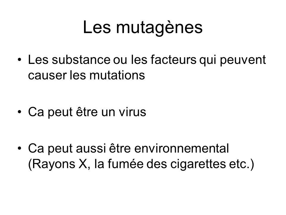 Les mutagènes Les substance ou les facteurs qui peuvent causer les mutations. Ca peut être un virus.