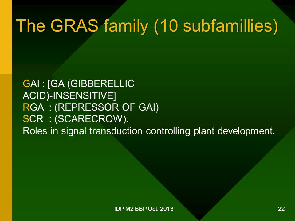 The GRAS family (10 subfamillies)