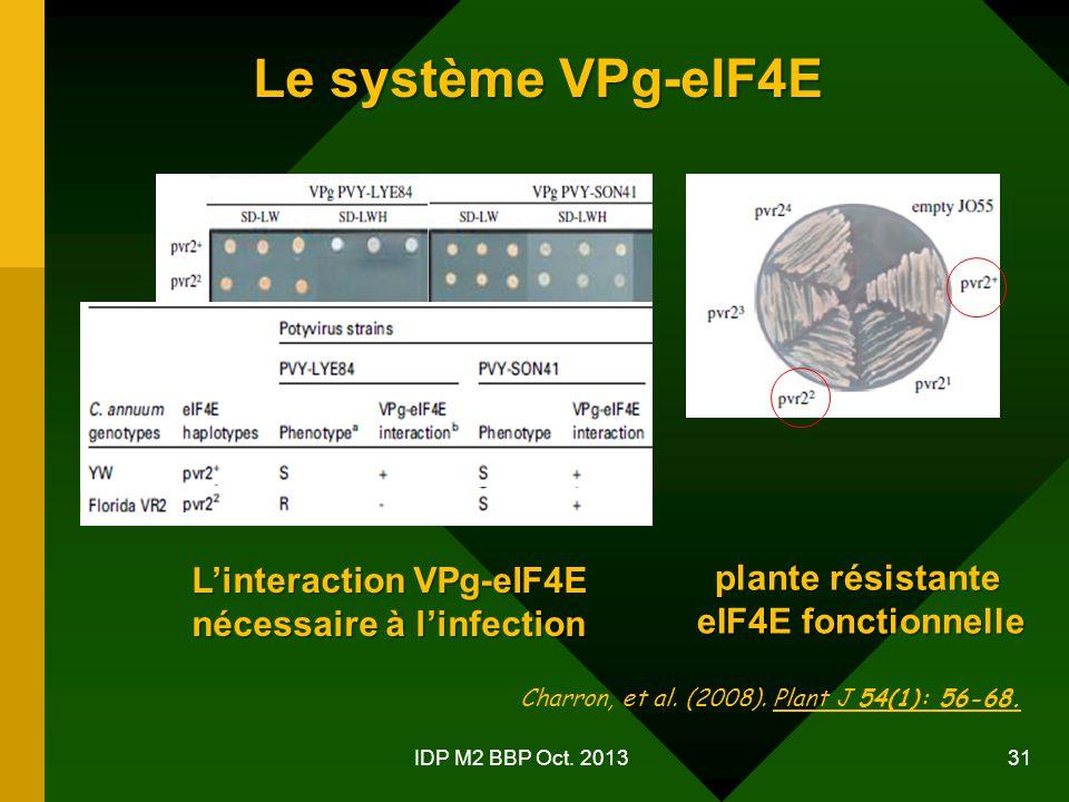 Le système VPg-eIF4E L'interaction VPg-eIF4E plante résistante