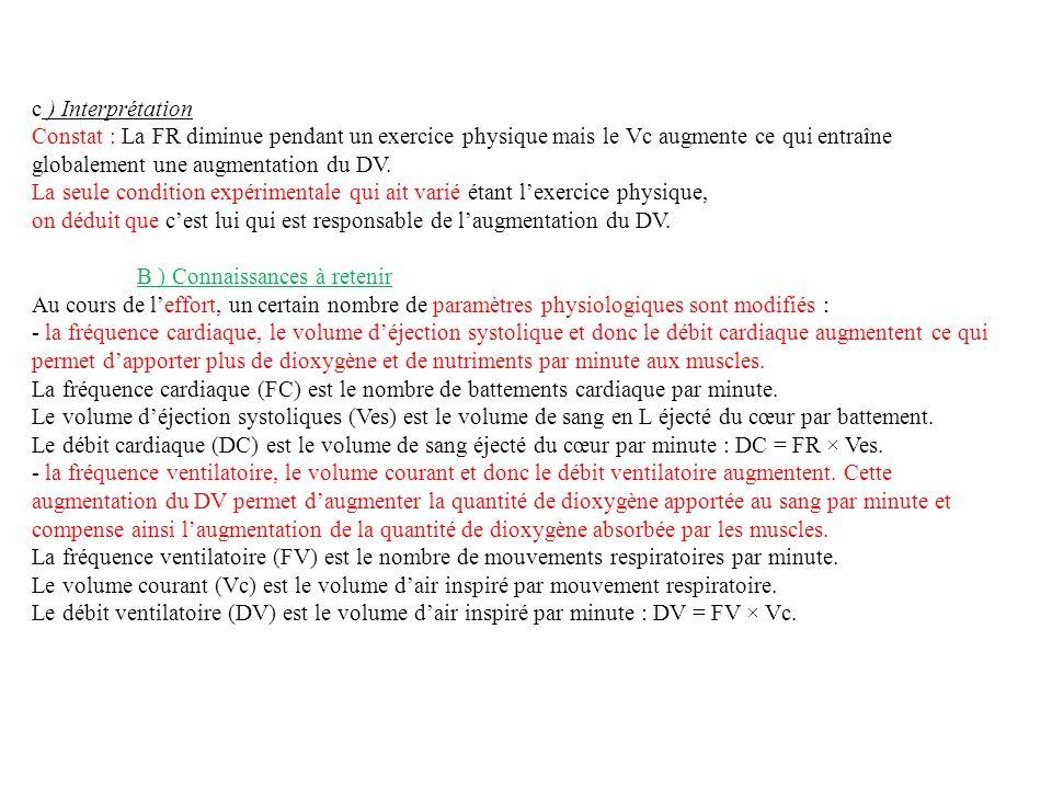 c ) Interprétation Constat : La FR diminue pendant un exercice physique mais le Vc augmente ce qui entraîne globalement une augmentation du DV.