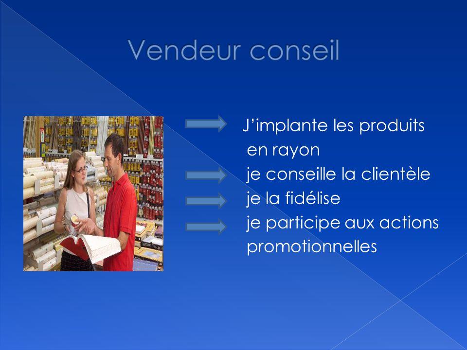 Vendeur conseil J'implante les produits en rayon je conseille la clientèle je la fidélise je participe aux actions promotionnelles