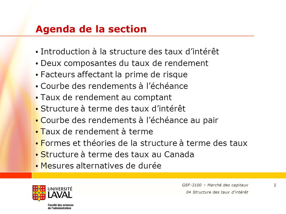 Agenda de la section Introduction à la structure des taux d'intérêt