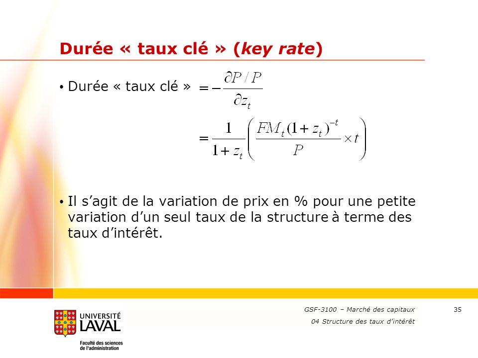 Durée « taux clé » (key rate)
