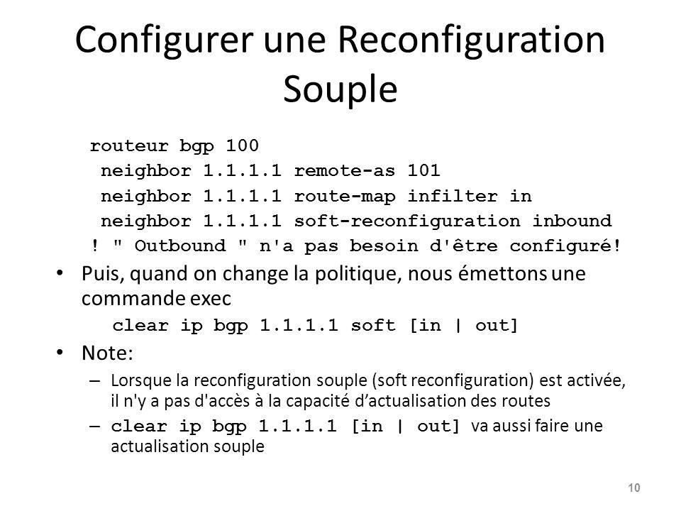 Configurer une Reconfiguration Souple