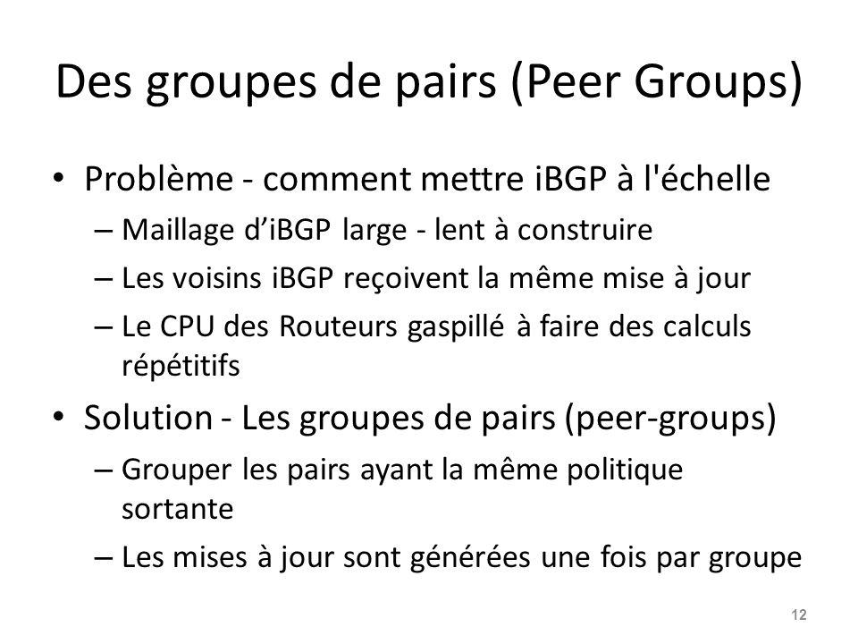 Des groupes de pairs (Peer Groups)