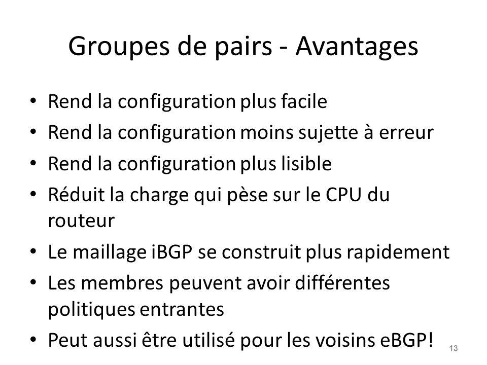 Groupes de pairs - Avantages