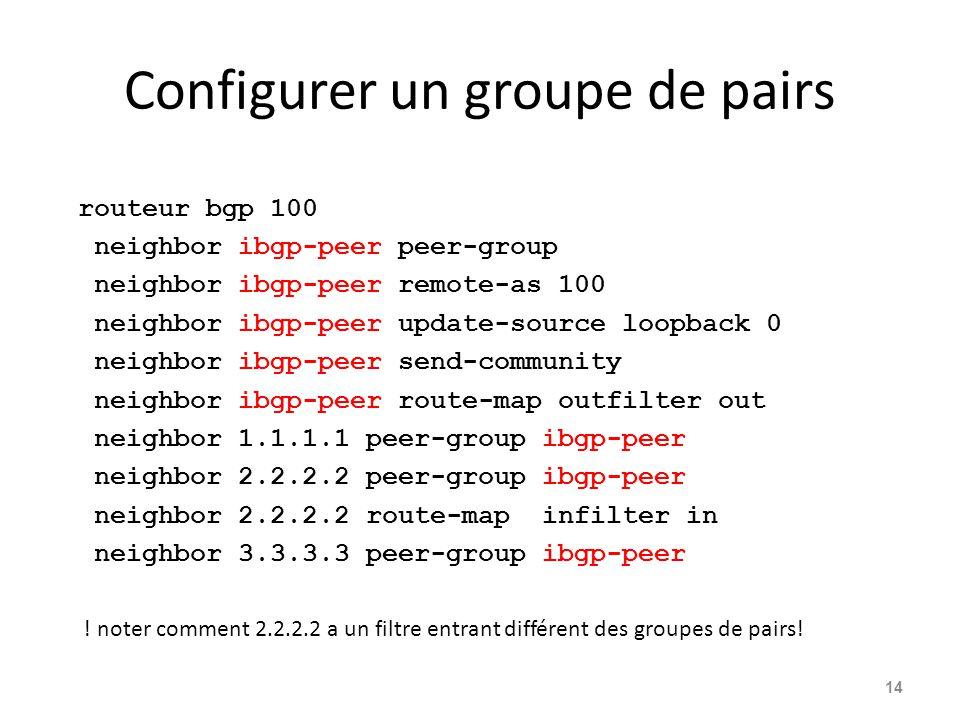 Configurer un groupe de pairs