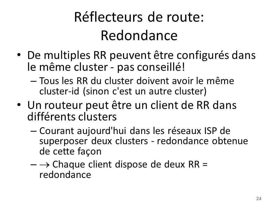 Réflecteurs de route: Redondance