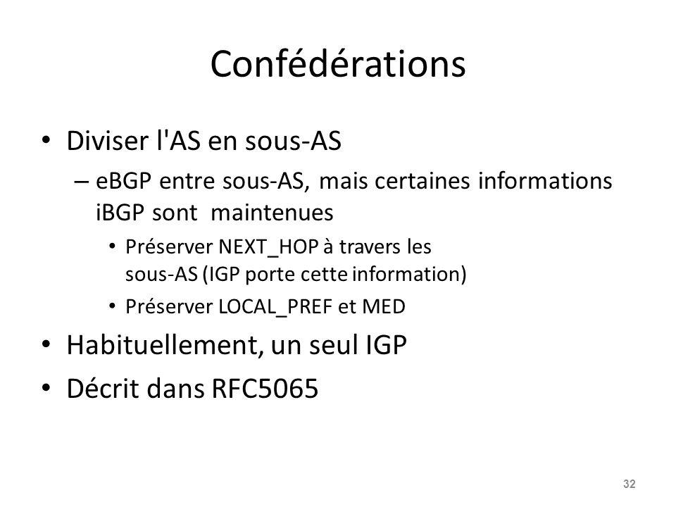 Confédérations Diviser l AS en sous-AS Habituellement, un seul IGP