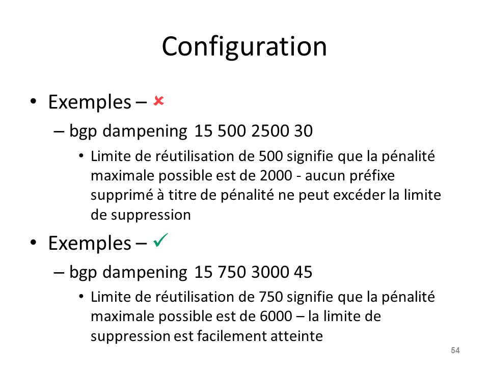 Configuration Exemples –  Exemples –  bgp dampening 15 500 2500 30