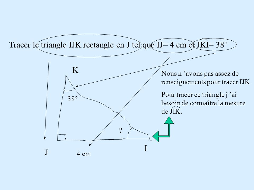 Tracer le triangle IJK rectangle en J tel que IJ= 4 cm et JKI= 38°