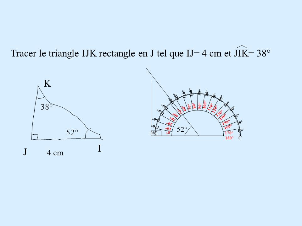 Tracer le triangle IJK rectangle en J tel que IJ= 4 cm et JIK= 38°