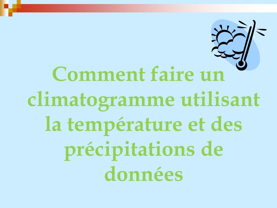 Comment faire un climatogramme utilisant la température et des précipitations de données