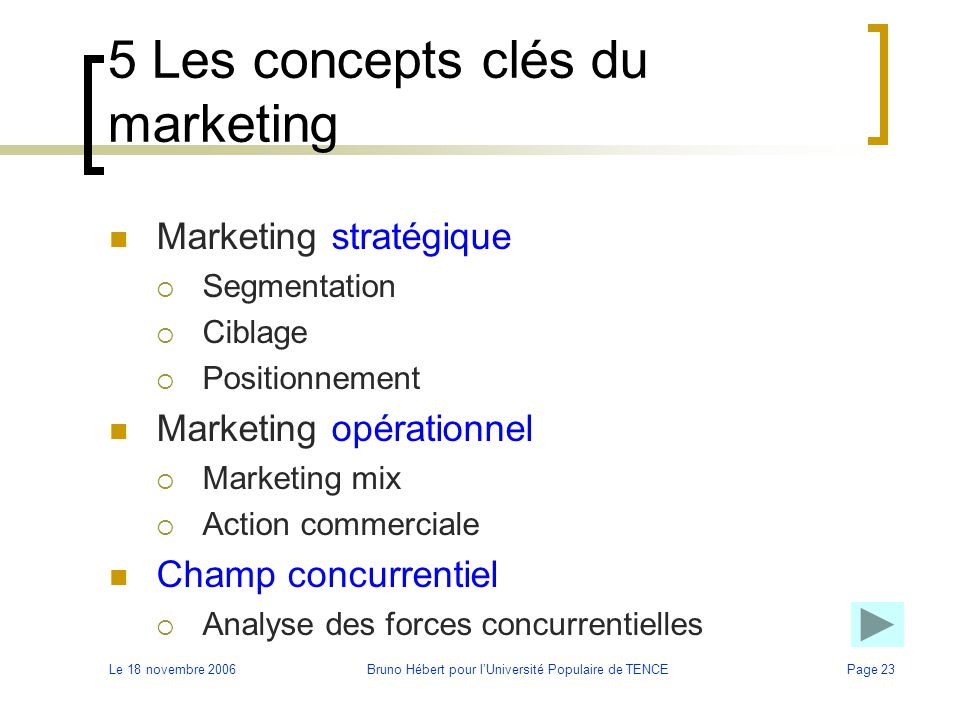 5 Les concepts clés du marketing