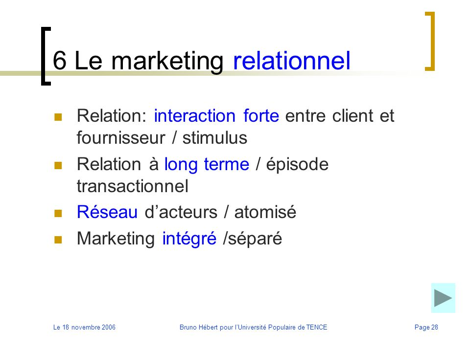 6 Le marketing relationnel