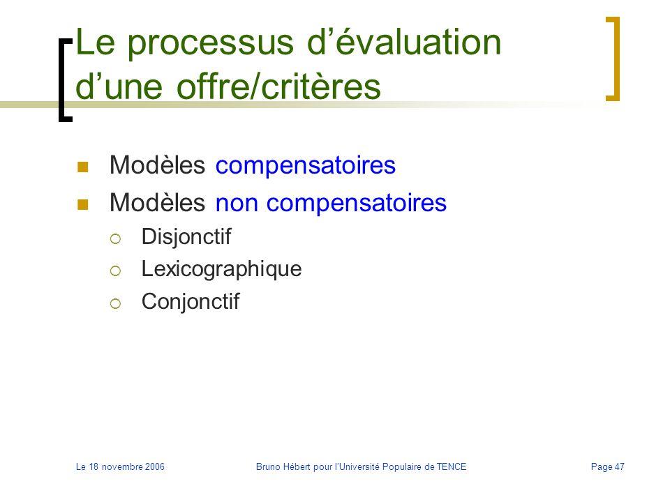 Le processus d'évaluation d'une offre/critères