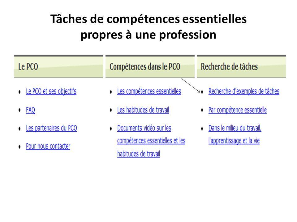 Tâches de compétences essentielles propres à une profession