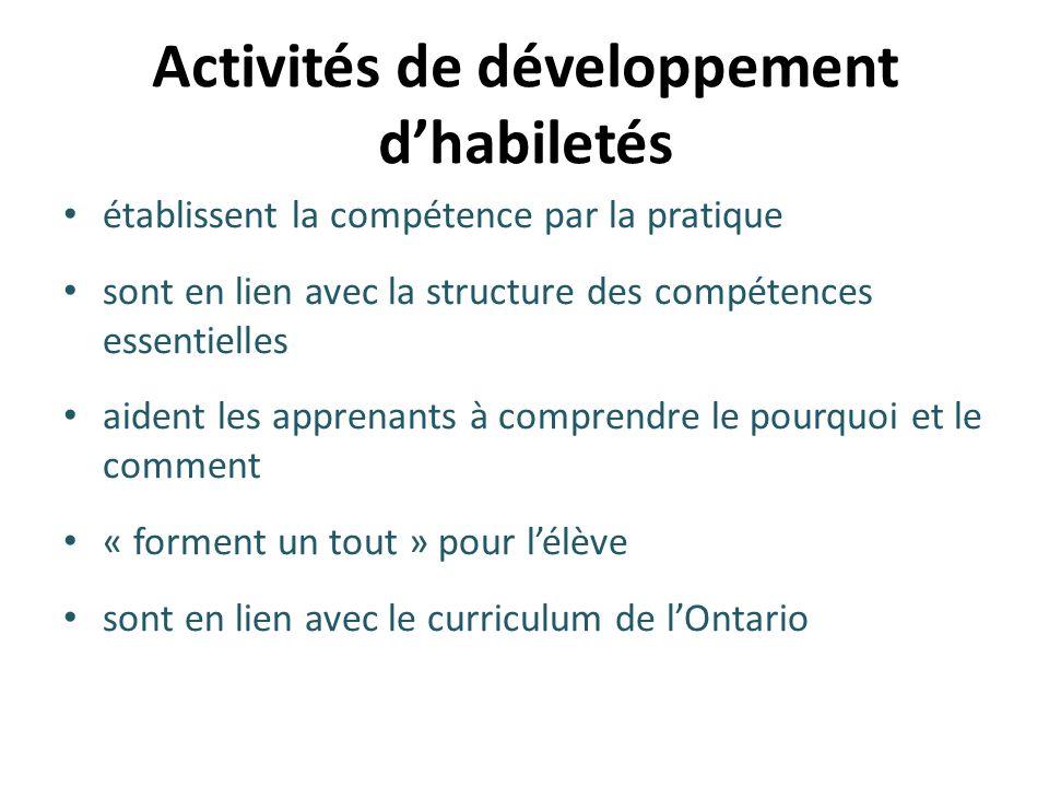Activités de développement d'habiletés