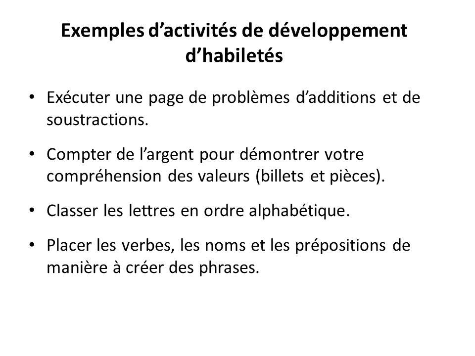 Exemples d'activités de développement d'habiletés