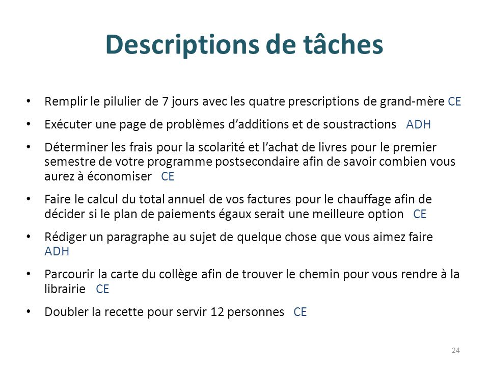 Descriptions de tâches