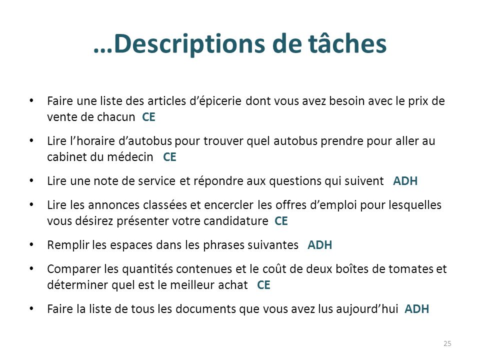 …Descriptions de tâches