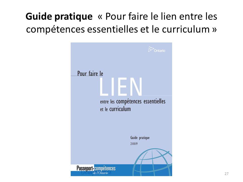 Guide pratique « Pour faire le lien entre les compétences essentielles et le curriculum »