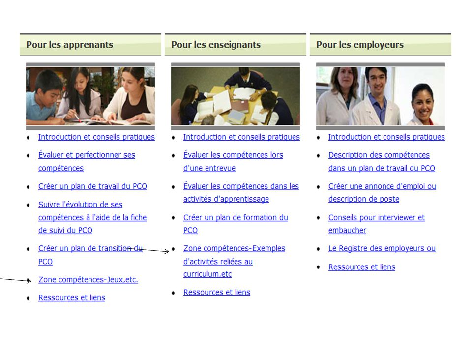 Voici la page d'accueil du site Web du PCO