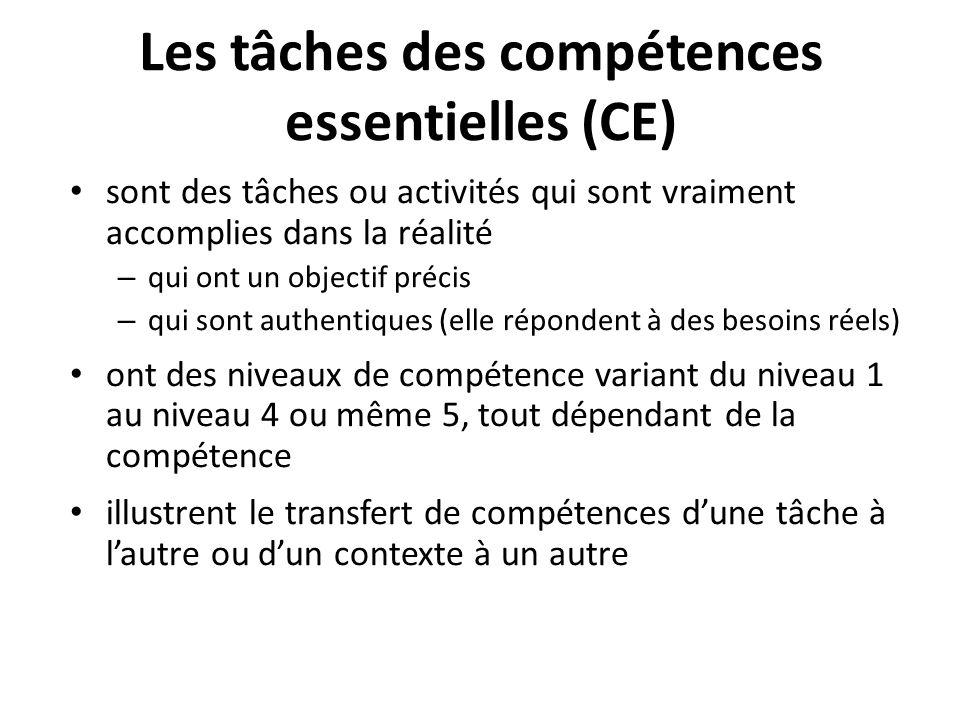 Les tâches des compétences essentielles (CE)