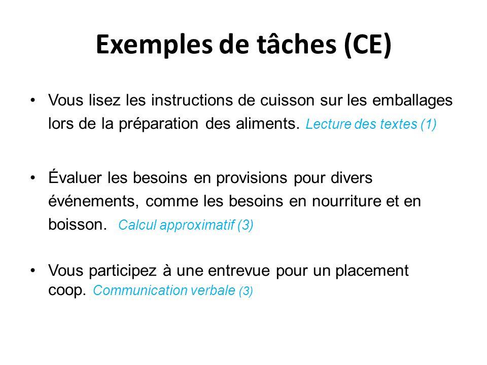 Exemples de tâches (CE)
