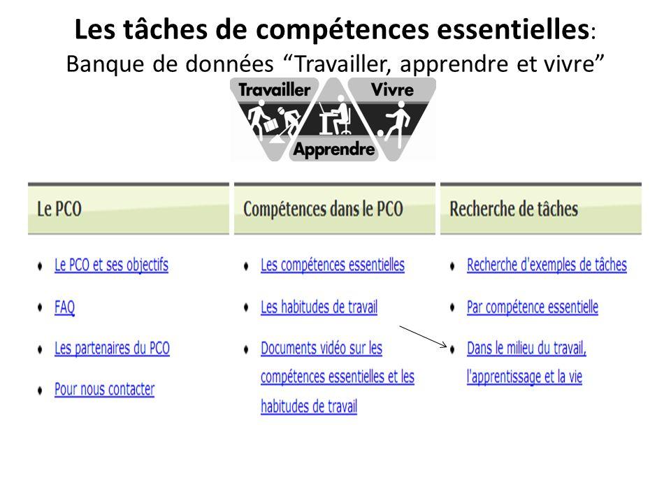 Les tâches de compétences essentielles: Banque de données Travailler, apprendre et vivre