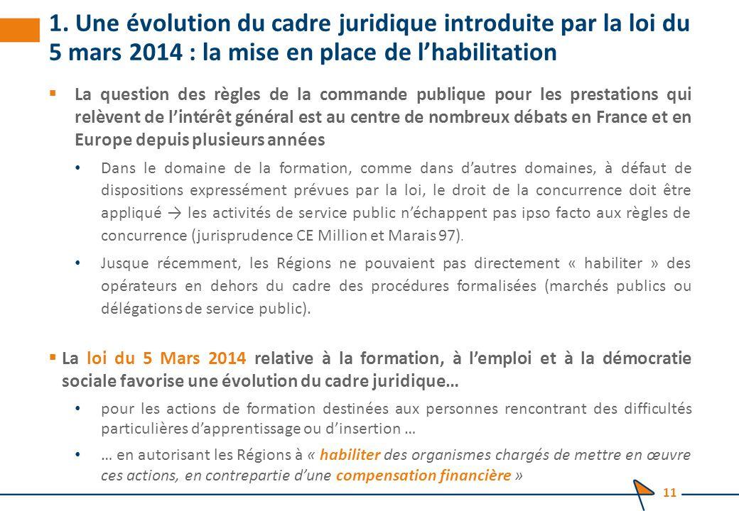 1. Une évolution du cadre juridique introduite par la loi du 5 mars 2014 : la mise en place de l'habilitation