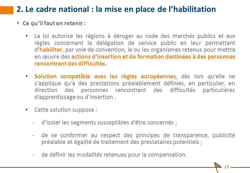 2. Le cadre national : la mise en place de l'habilitation