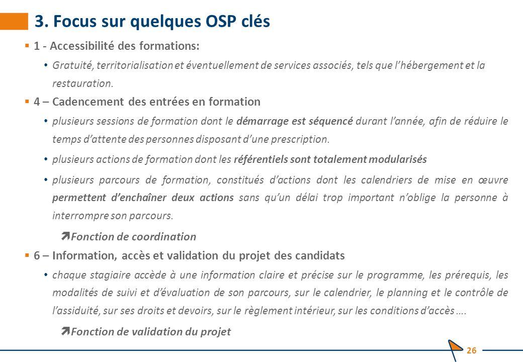 3. Focus sur quelques OSP clés