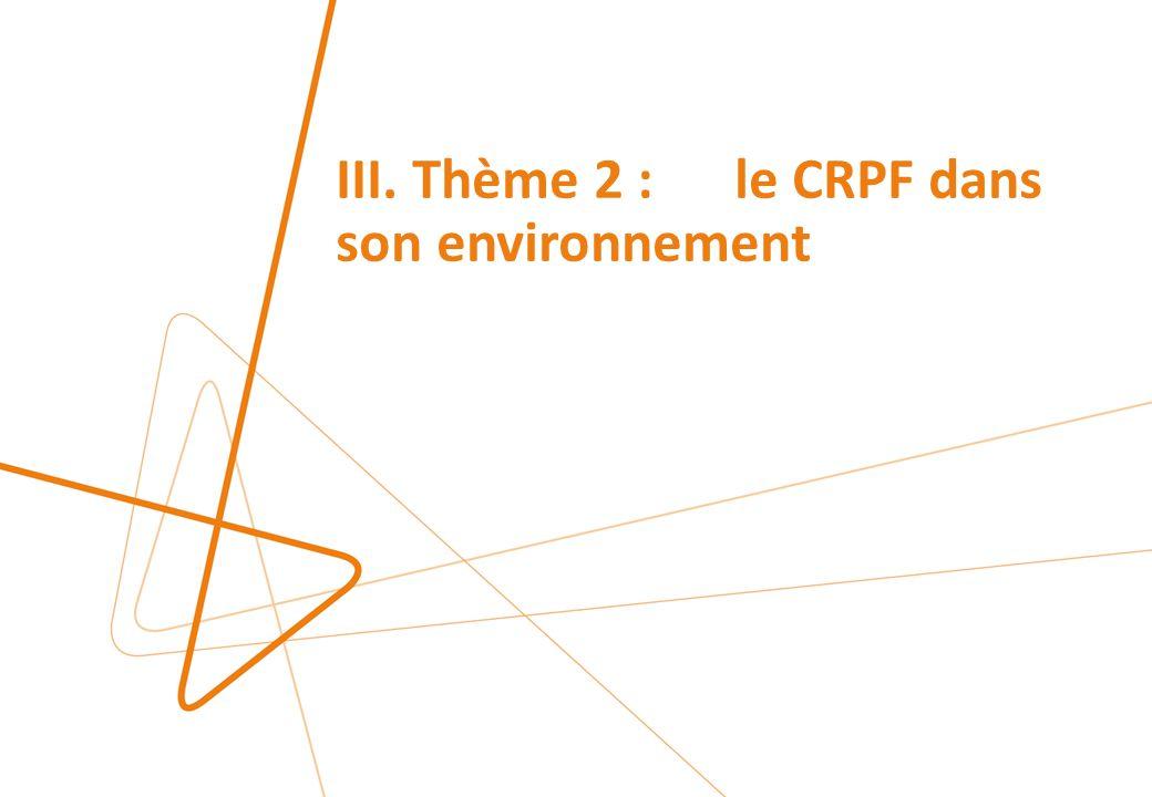III. Thème 2 : le CRPF dans son environnement