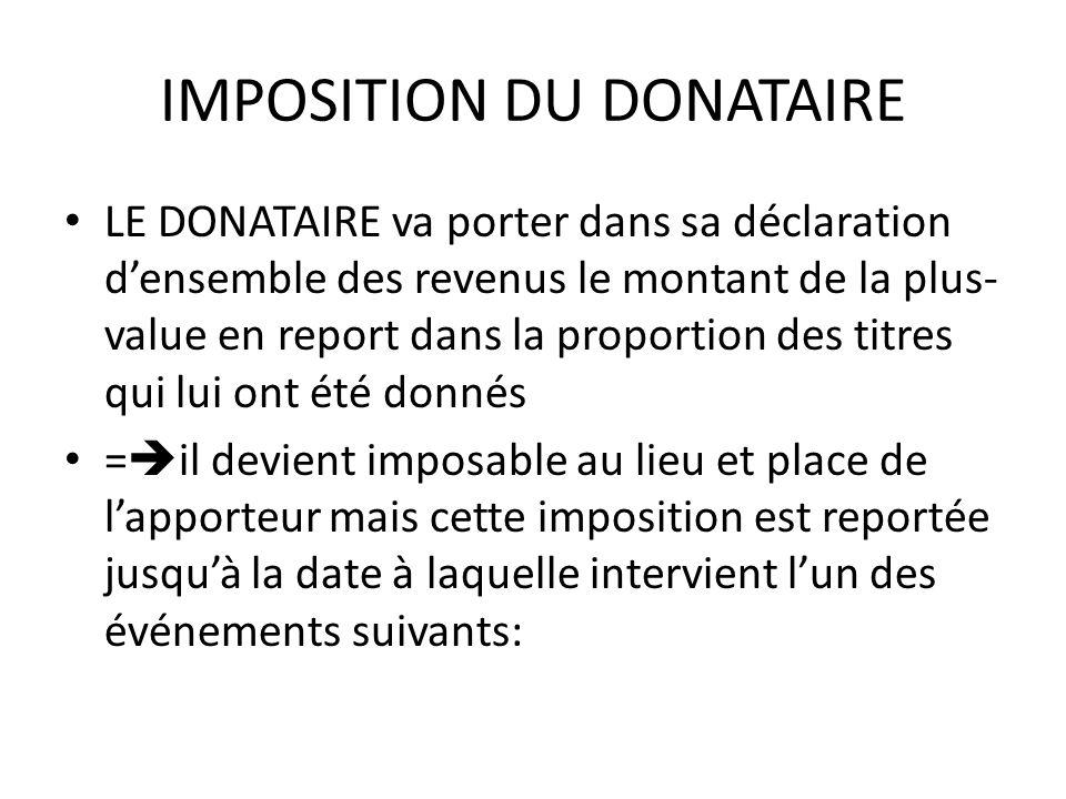 IMPOSITION DU DONATAIRE