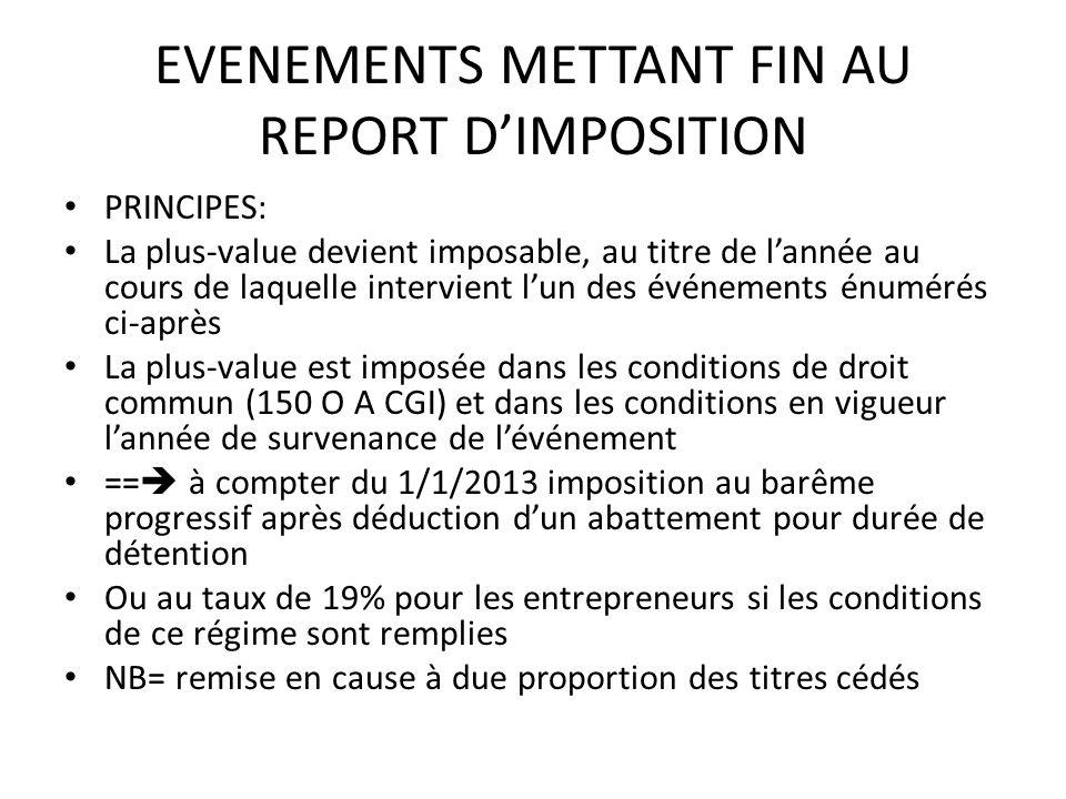 EVENEMENTS METTANT FIN AU REPORT D'IMPOSITION