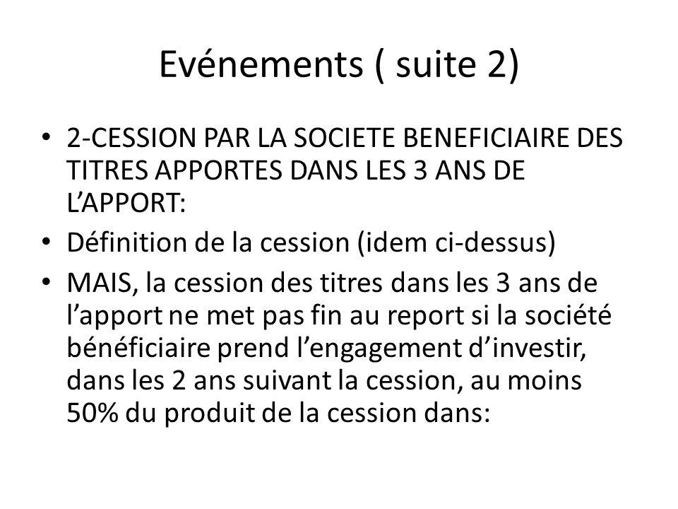 Evénements ( suite 2) 2-CESSION PAR LA SOCIETE BENEFICIAIRE DES TITRES APPORTES DANS LES 3 ANS DE L'APPORT: