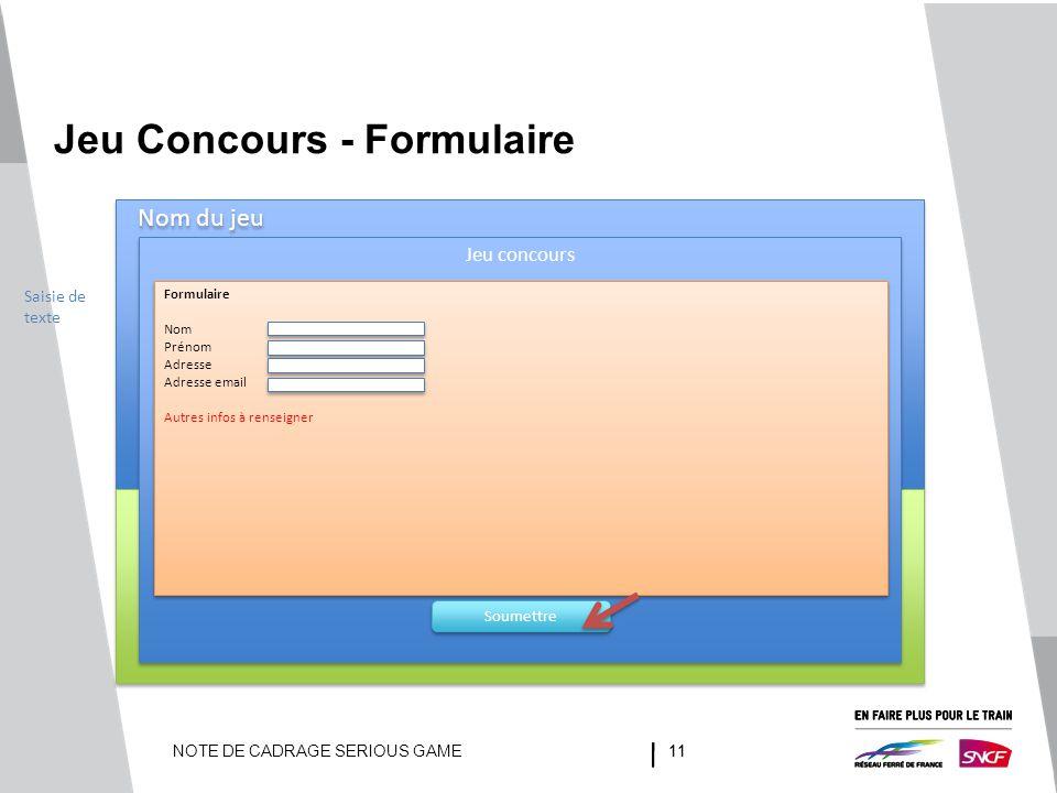 Jeu Concours - Formulaire