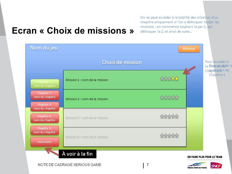 Ecran « Choix de missions »