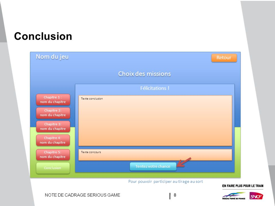 Conclusion Nom du jeu Choix des missions Retour Félicitations !