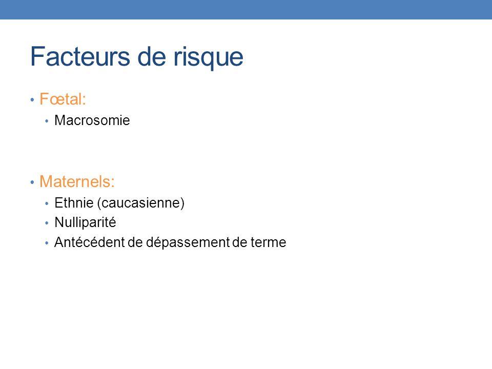 Facteurs de risque Fœtal: Maternels: Macrosomie Ethnie (caucasienne)