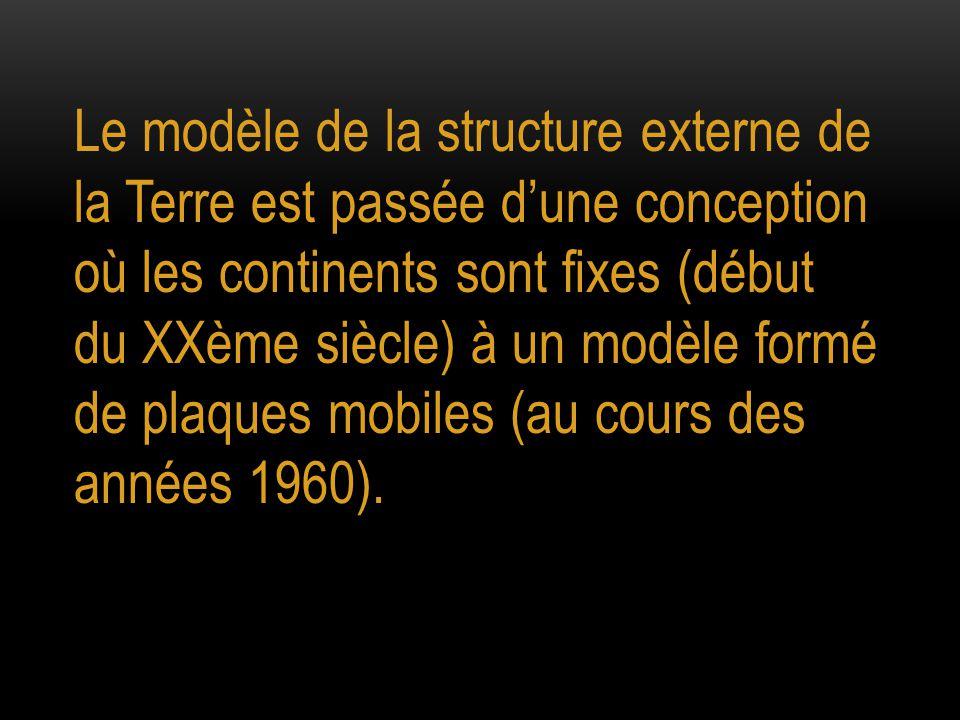 Le modèle de la structure externe de la Terre est passée d'une conception où les continents sont fixes (début du XXème siècle) à un modèle formé de plaques mobiles (au cours des années 1960).