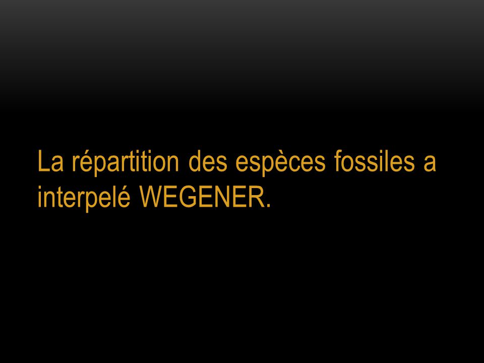 La répartition des espèces fossiles a interpelé WEGENER.