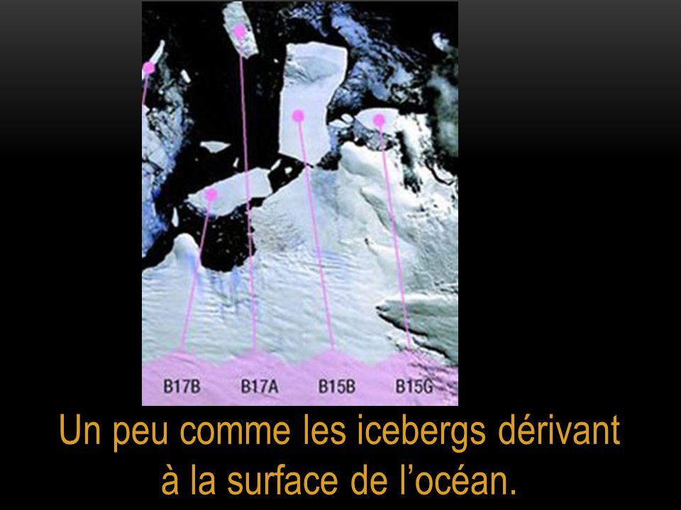Un peu comme les icebergs dérivant à la surface de l'océan.
