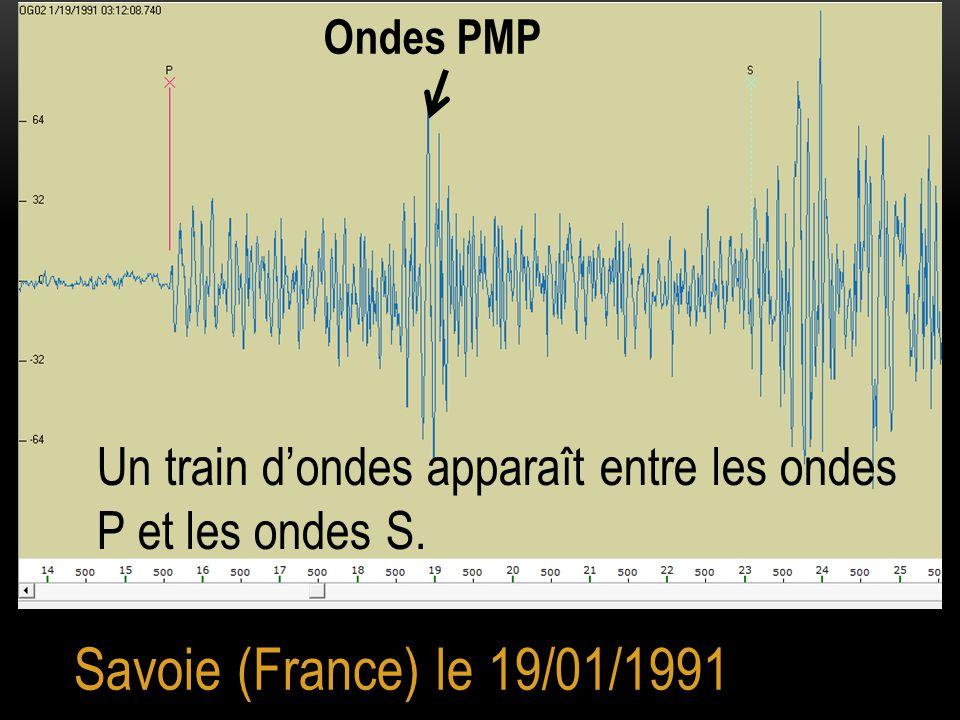 Ondes PMP Un train d'ondes apparaît entre les ondes P et les ondes S. Savoie (France) le 19/01/1991