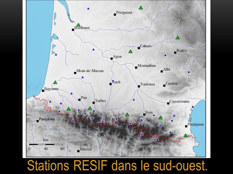 Stations RESIF dans le sud-ouest.