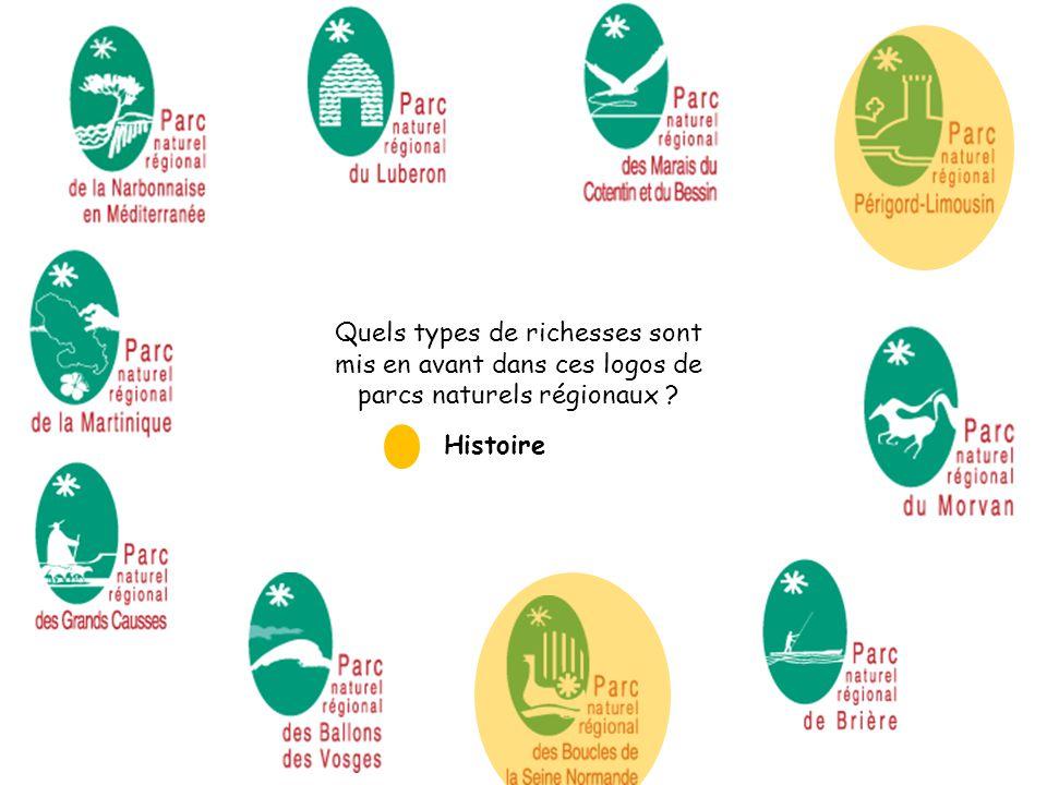 Quels types de richesses sont mis en avant dans ces logos de parcs naturels régionaux