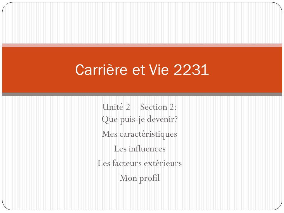 Carrière et Vie 2231 Unité 2 – Section 2: Que puis-je devenir