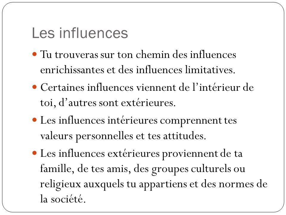 Les influences Tu trouveras sur ton chemin des influences enrichissantes et des influences limitatives.